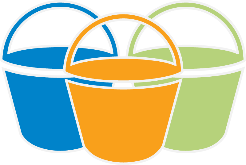blue bucket, orange bucket, green bucket