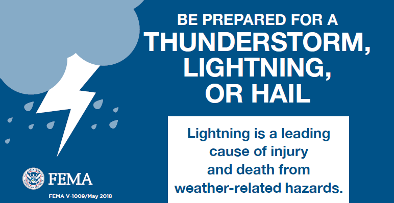 fema graphic about thunderstorm, lightning, or hail preparation